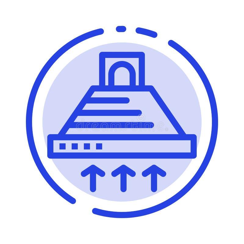 De kap, het Koken, Keuken, Uitlaat, rookt het Blauwe Pictogram van de Gestippelde Lijnlijn royalty-vrije illustratie