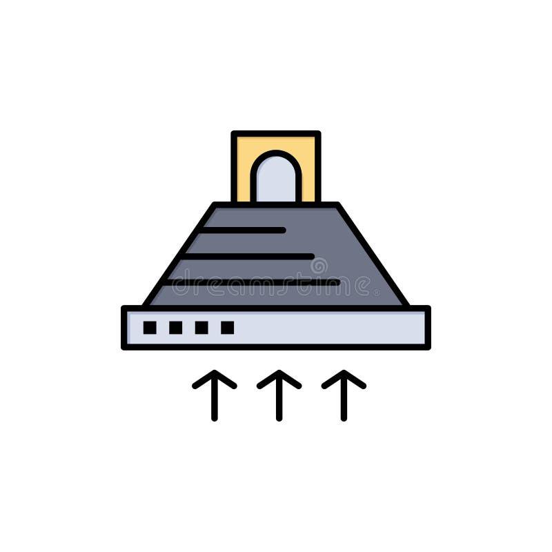 De kap, het Koken, Keuken, Uitlaat, rookt Vlak Kleurenpictogram Het vectormalplaatje van de pictogrambanner stock illustratie