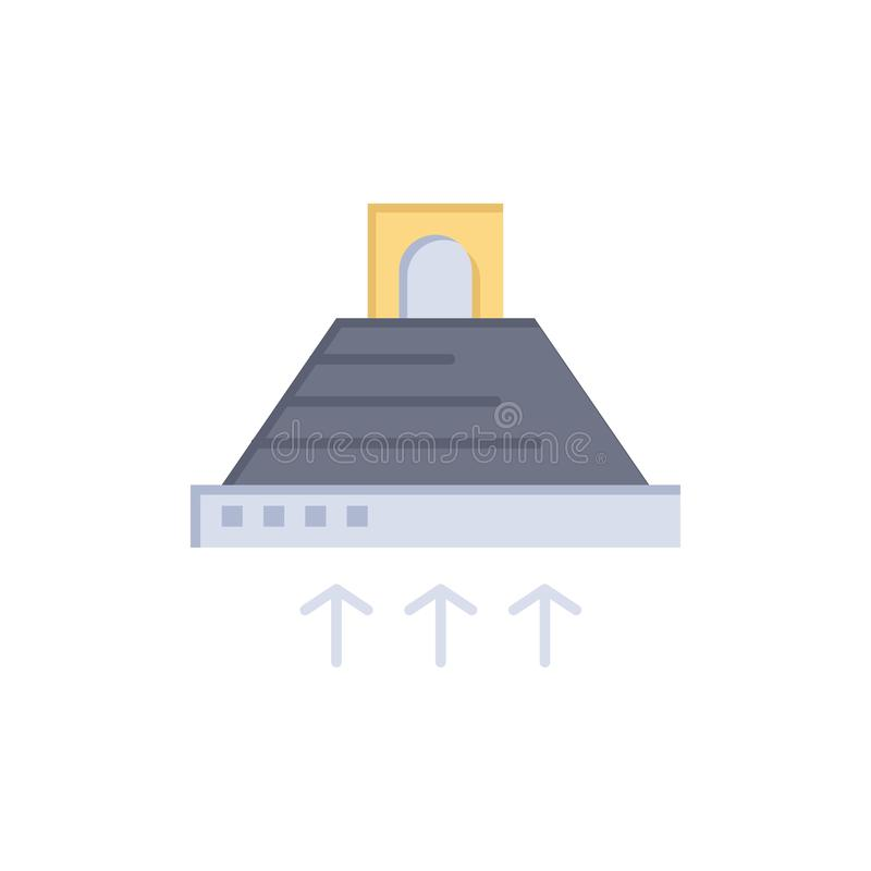 De kap, het Koken, Keuken, Uitlaat, rookt Vlak Kleurenpictogram Het vectormalplaatje van de pictogrambanner royalty-vrije illustratie