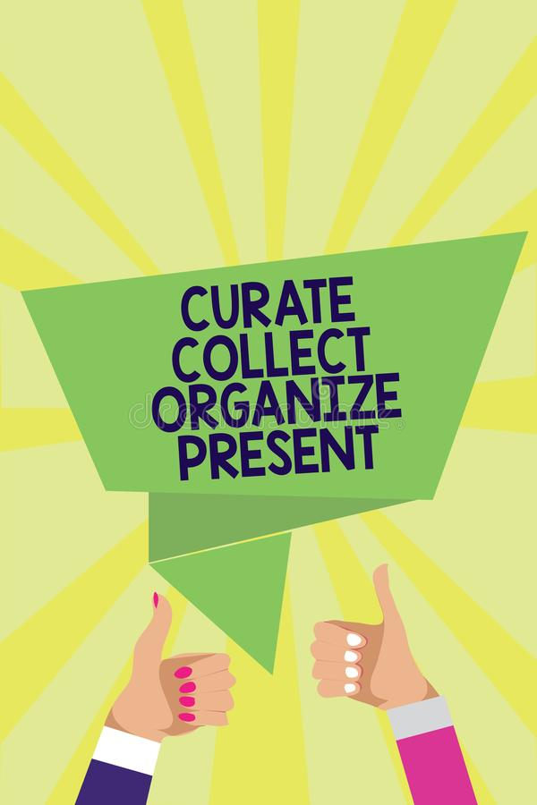 De Kapelaan van de handschrifttekst verzamelt organiseert Heden Concept die Terugtrekt Organisatie Curation die Man thu van vrouw stock illustratie