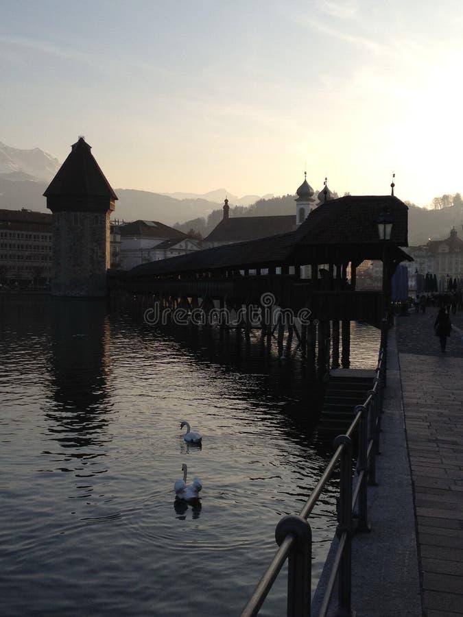 De kapelbrug in Luzerne royalty-vrije stock afbeelding