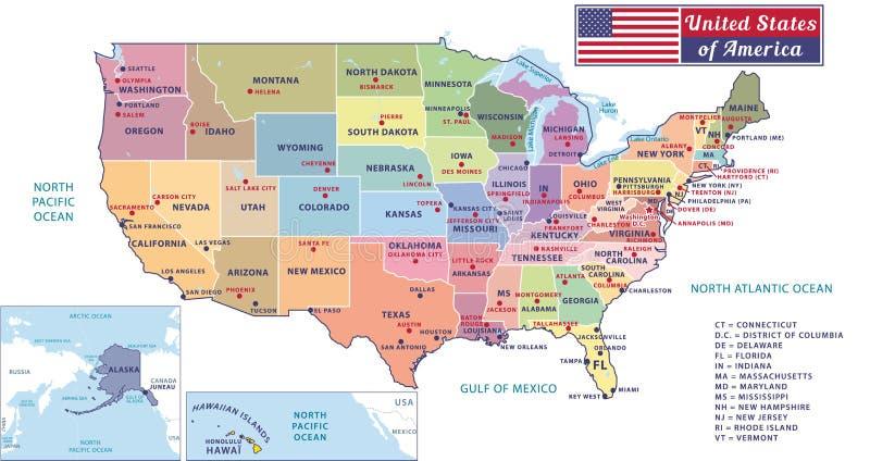 De kapitalen van staten en grote steden van de Verenigde Staten van Amerika De mooie moderne grafische kaart van de V.S. stock illustratie
