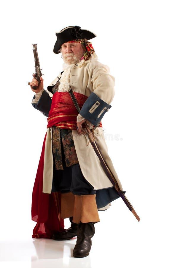 De kapitein van de piraat in uitdagend stelt royalty-vrije stock fotografie