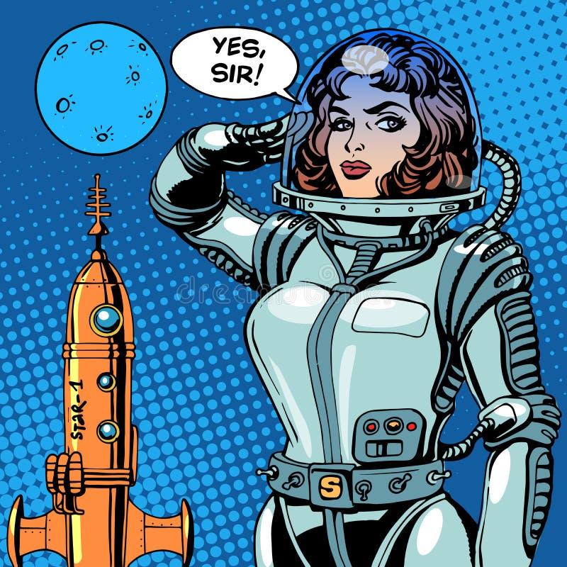 De kapitein van de vrouwenastronaut van een ruimteschipscience fiction royalty-vrije illustratie