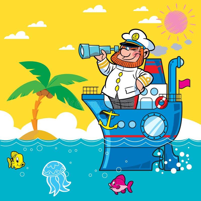 De kapitein van het beeldverhaal royalty-vrije illustratie