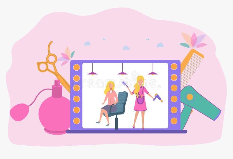 De kapper snijdt het meisje in de salon Fancy Hairstyle Mooie vectorillustratie stock illustratie