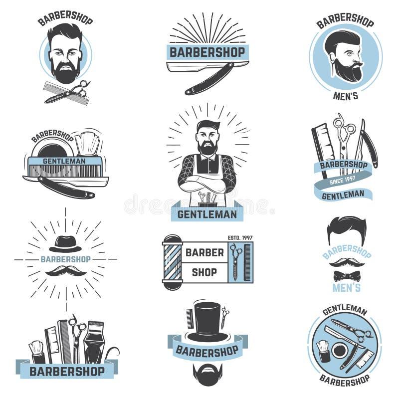 De kapper van het herenkapperembleem snijdt mannelijk kapsel en snor met weerhaken van de gebaarde mens met scheermes in hipsters stock illustratie