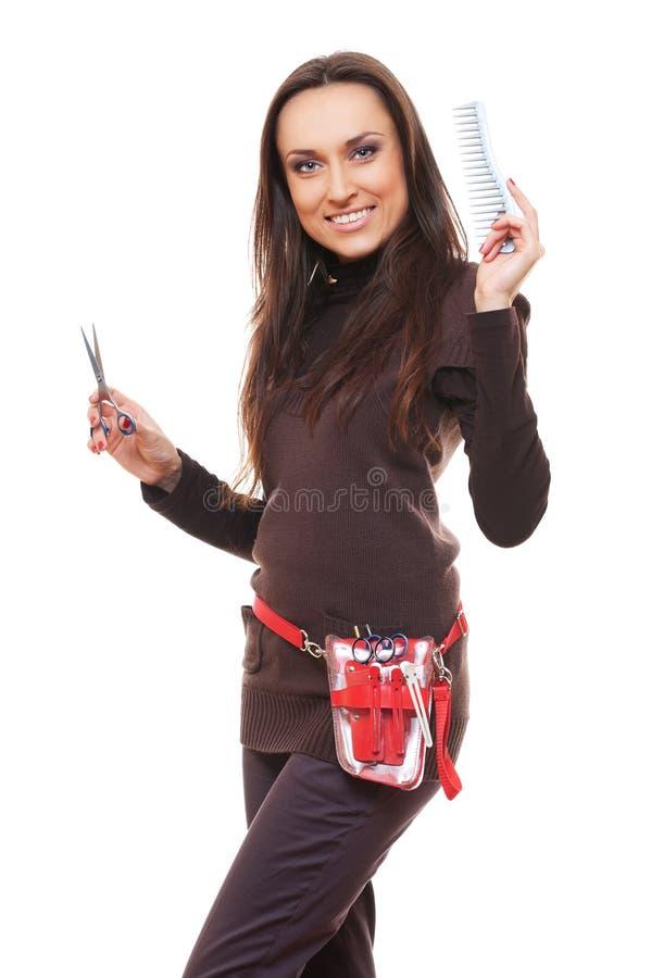 De kapper van Smiley met hulpmiddelen stock foto's