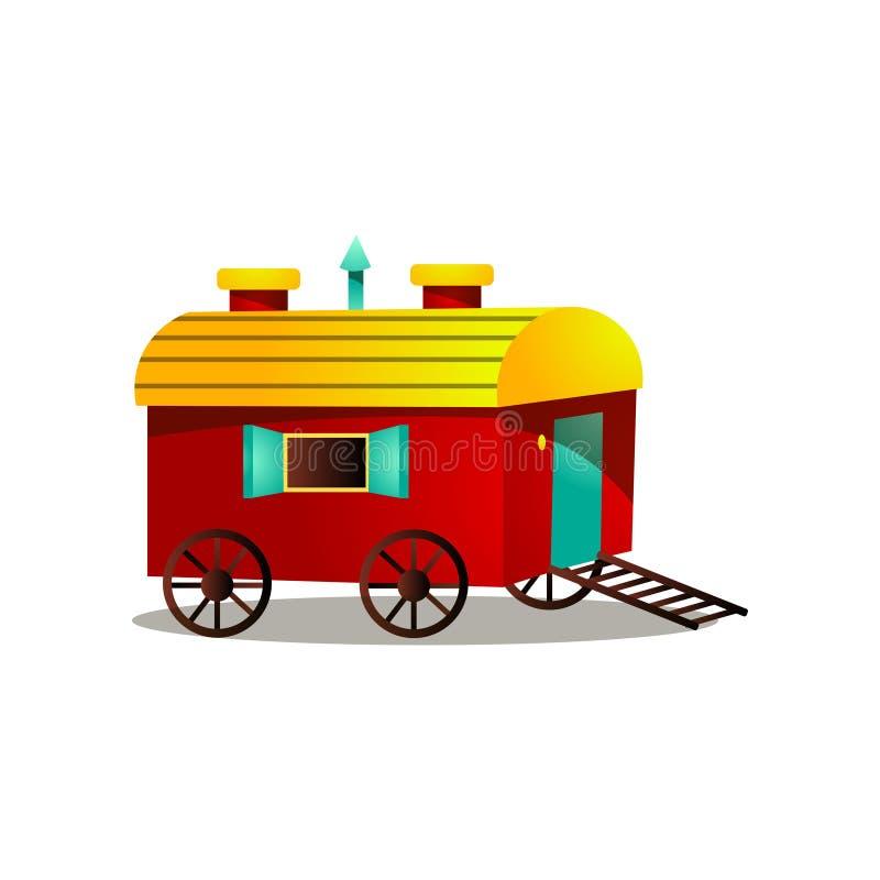 De kar van het circuspaard met houten wielen en rode gele kleur royalty-vrije illustratie