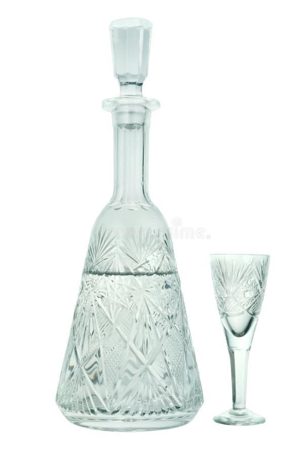 De karaf van het kristal met een wijnglas royalty-vrije stock fotografie