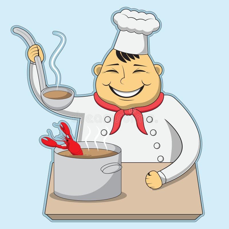 De karakterchef-kok kookt de zeekreeftvissoep Vector illustratie royalty-vrije illustratie