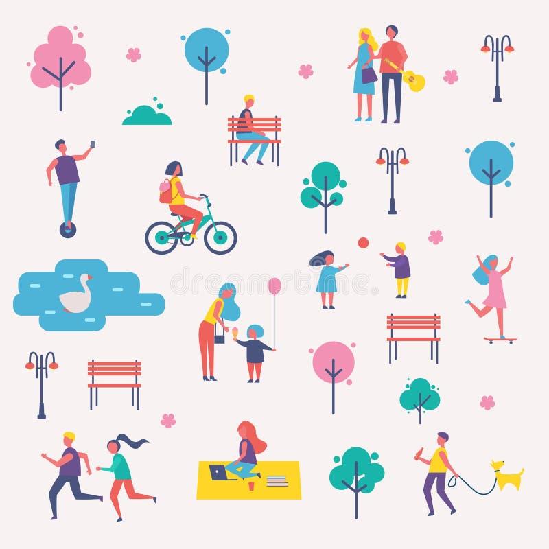 De karakters brengen Vrije tijd in de Reeks van het de Lentepark door vector illustratie