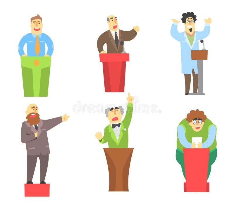 De karakters die van beeldverhaalmensen toespraak van tribune geven Openbare sprekers Universitaire sprekers, student en politicu stock illustratie