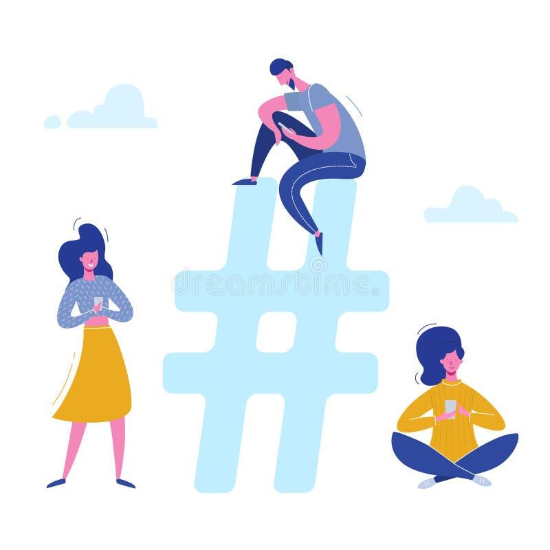 De karakters die van Hashtagmensen met telefoons op sociale media, voorzien van een netwerk babbelen Illustratieontwerp voor Webb royalty-vrije illustratie