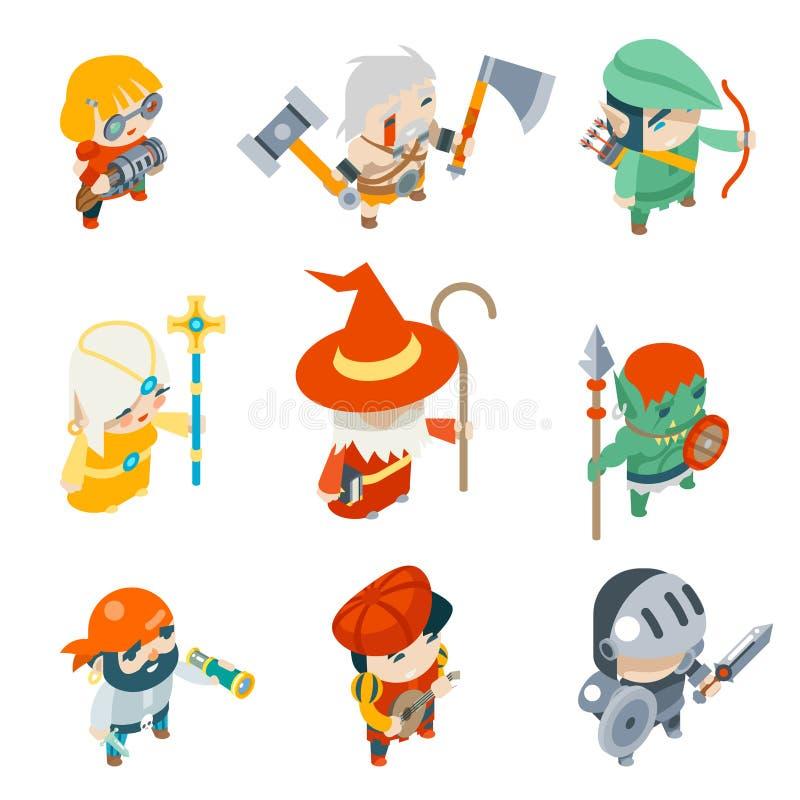 De Karakters Isometrische Vectorpictogrammen van het fantasierpg Spel Geplaatst Illustratie stock illustratie