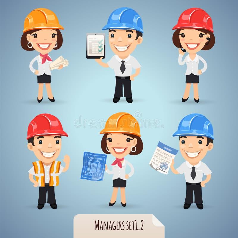De Karakters Set1.2 van het managersbeeldverhaal royalty-vrije illustratie