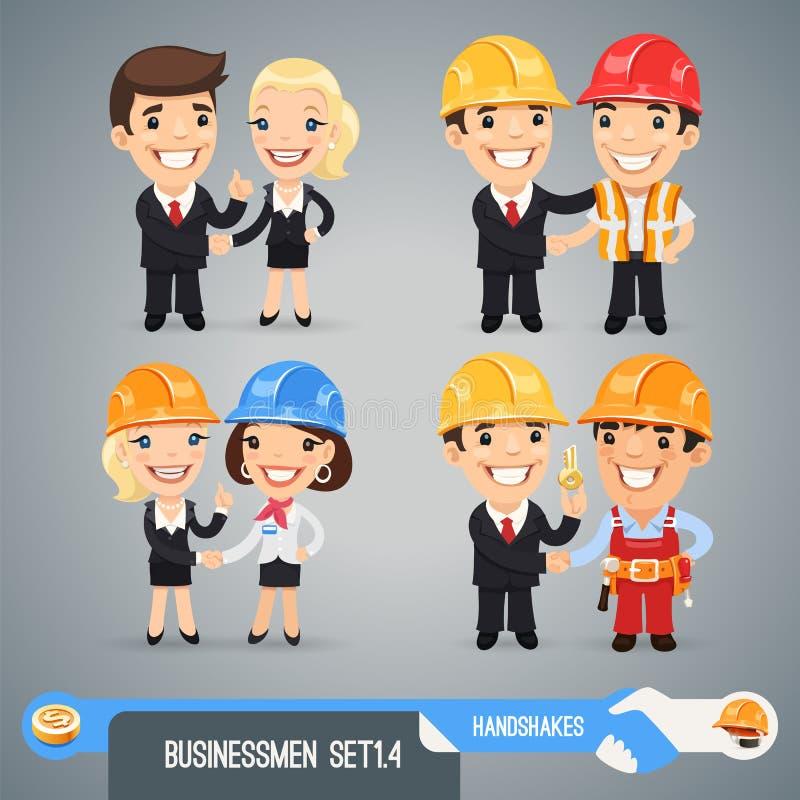 De Karakters Set1.4 van het zakenliedenbeeldverhaal stock illustratie