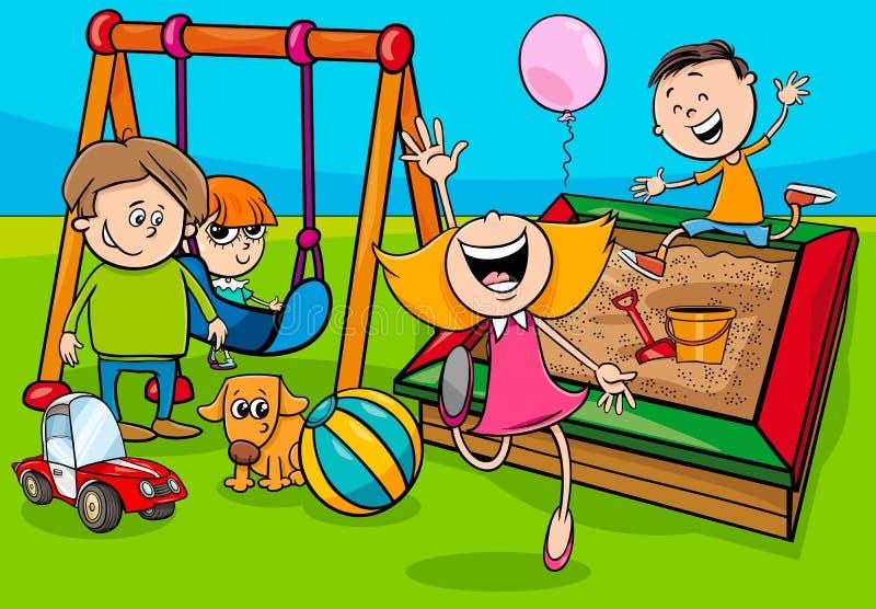 De karakters van beeldverhaalkinderen op speelplaats royalty-vrije illustratie