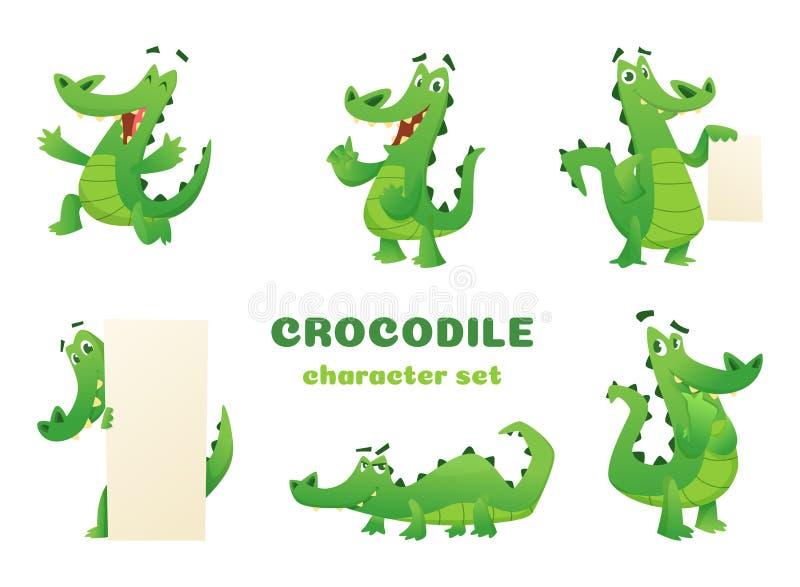 De karakters van de beeldverhaalkrokodil De krokodille wilde amfibie reptiel groene grote ontwerpen van dieren vectormascottes in vector illustratie