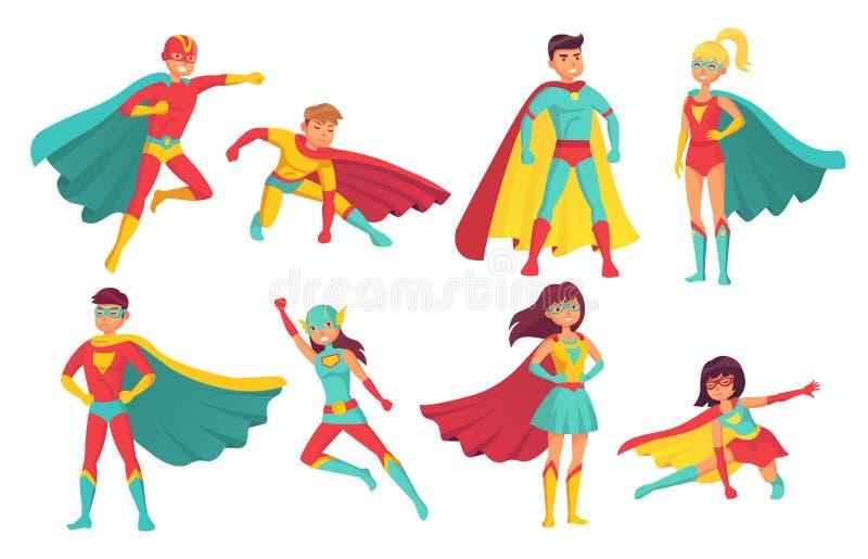 De karakters van beeldverhaalsuperhero Wijfje en mannetje die superheroes met grootmachten vliegen Moedige superman en superwoman stock illustratie