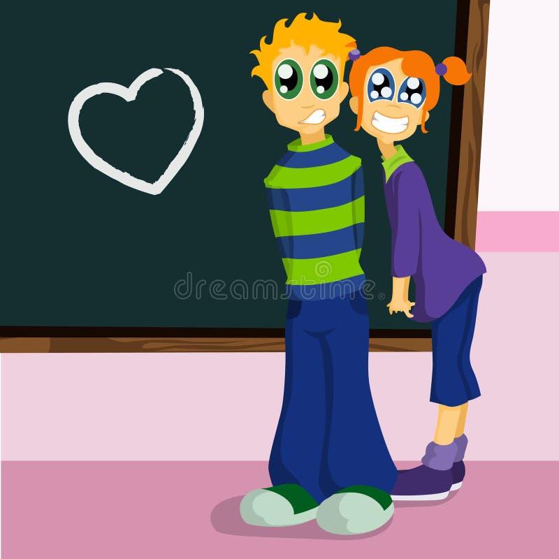 De karakters van de school vallen in liefde royalty-vrije illustratie