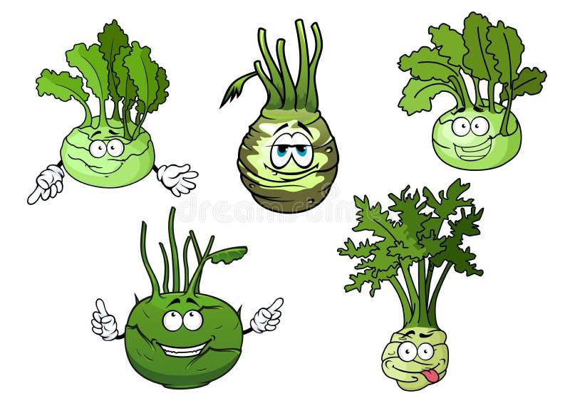 De karakters van het de groentenbeeldverhaal van de koolraapkool royalty-vrije illustratie