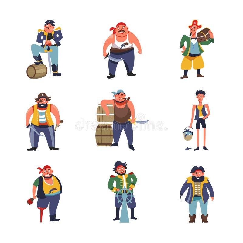De karakters van het piratenbeeldverhaal van kapiteins met schiproer of zeeman obstructie voeren met gouden geldborst vector illustratie