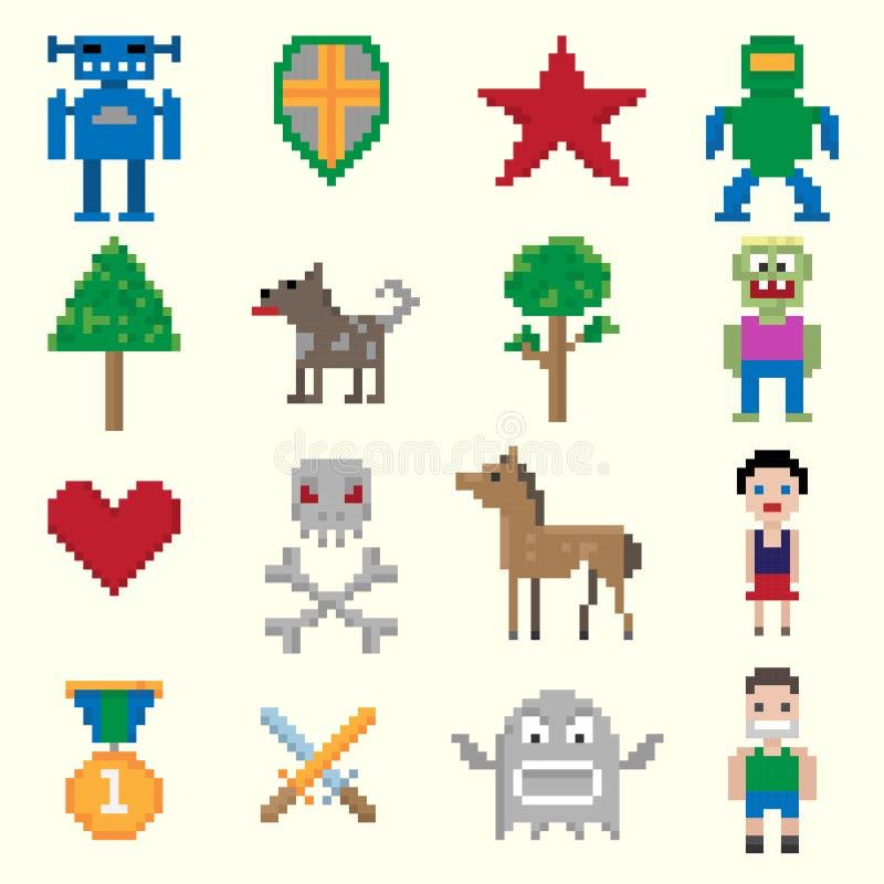 De karakters van het spelpixel royalty-vrije illustratie