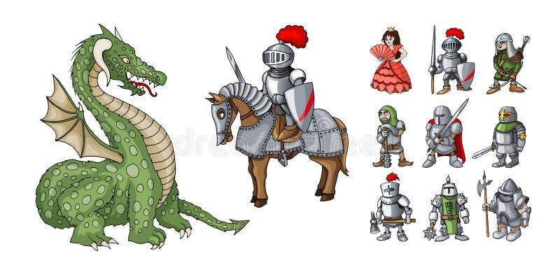 De karakters van het sprookjesbeeldverhaal Fantasieridder en draak, prinses en ridders royalty-vrije illustratie