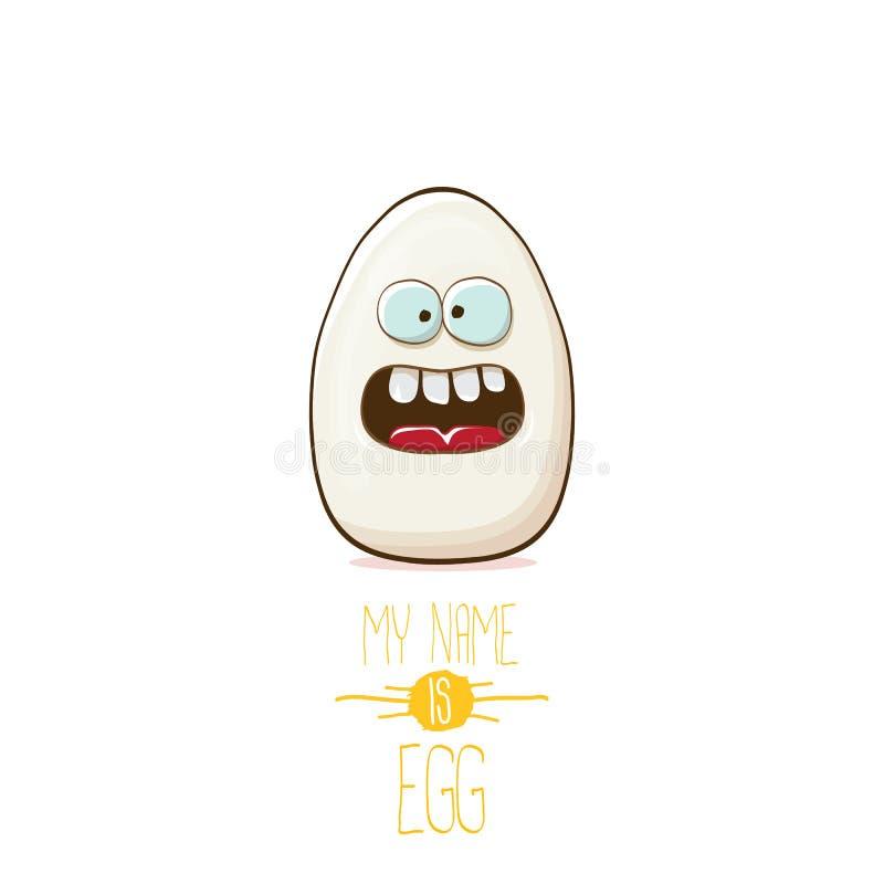 De karakters van het wit die eibeeldverhaal op witte achtergrond worden geïsoleerd Mijn naam is illustratie van het ei de vectorc stock illustratie