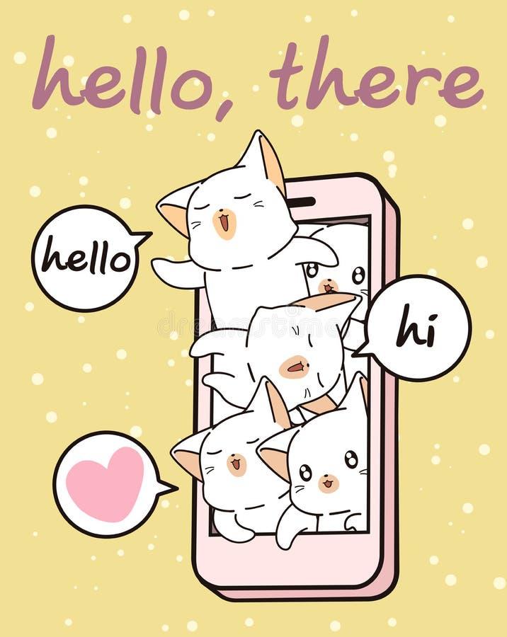 De karakters van de Kawaiikat in mobiele telefoon stock illustratie