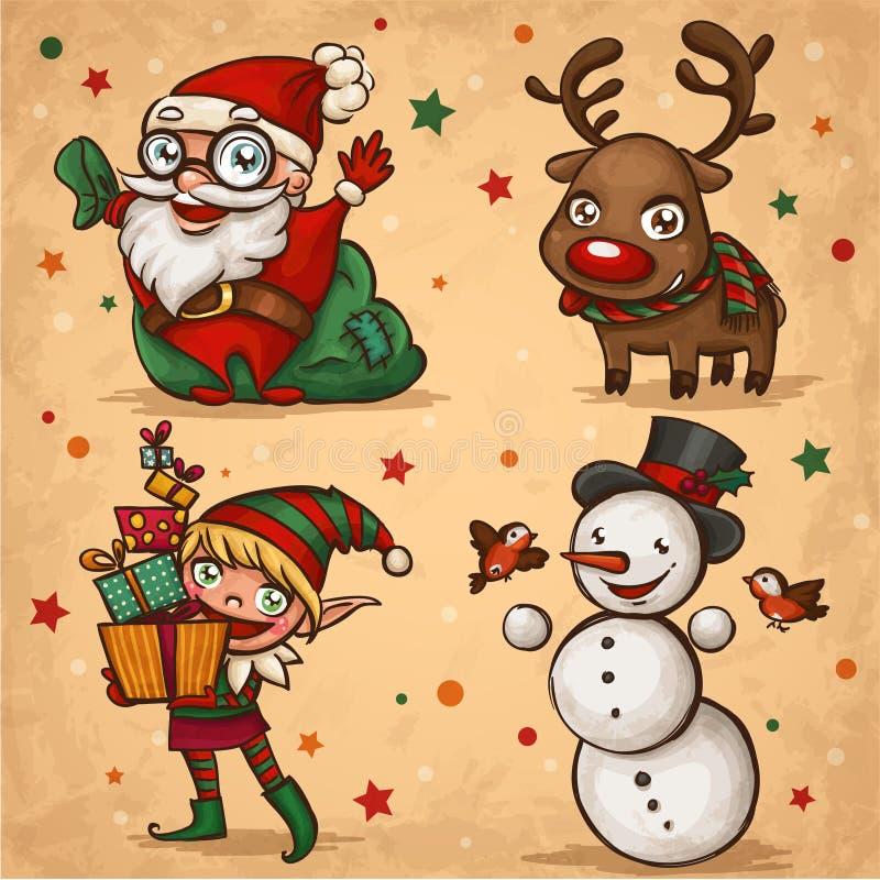 De karakters van Kerstmis stock illustratie