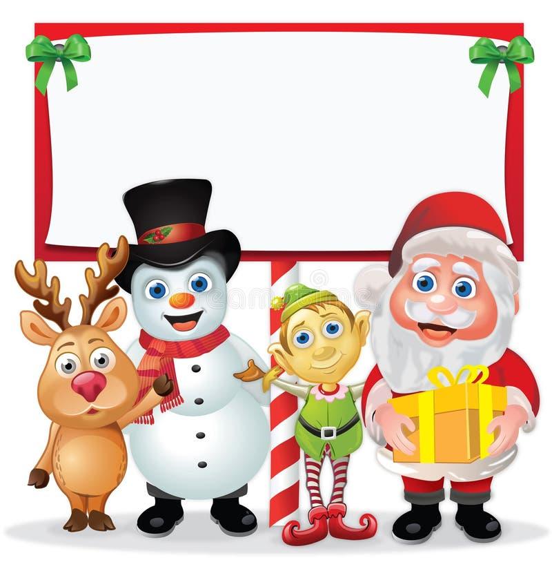 De Karakters van Kerstmis rond een Teken stock illustratie