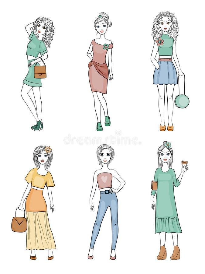 De karakters van maniermeisjes De leuke vrouwelijke jonge mode modelleert vrouw het stellen voor retro modieuze tijdschrift vecto stock illustratie