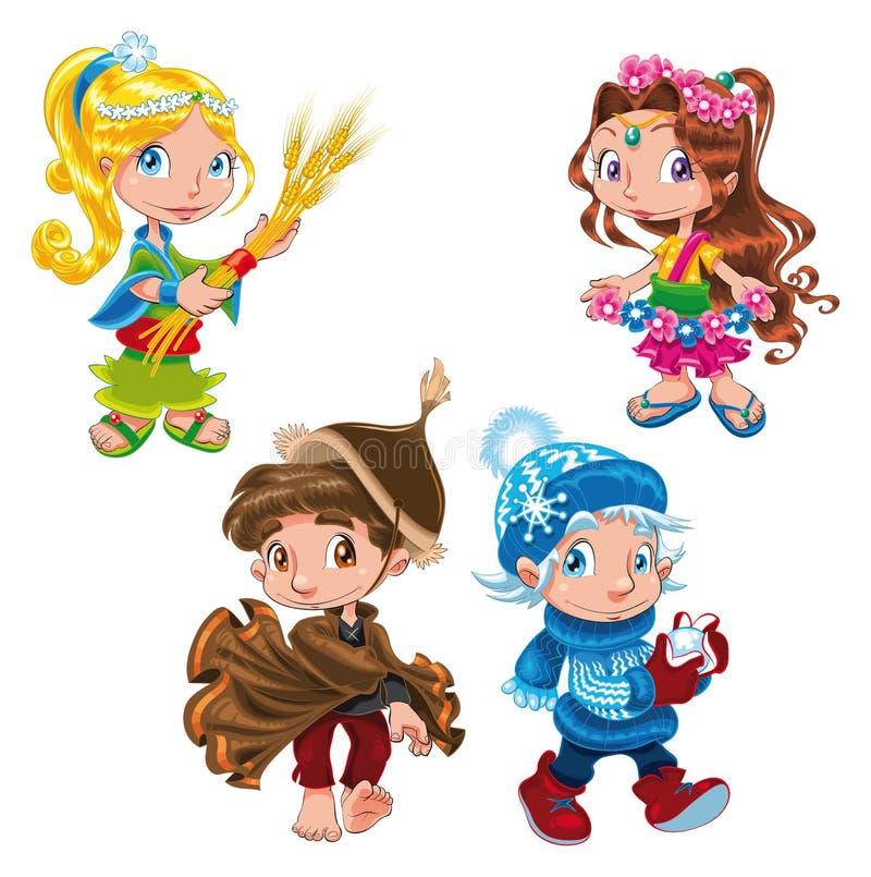 De karakters van seizoenen stock illustratie