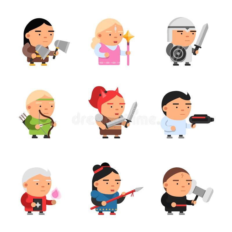 De karakters van de spelfantasie Van de het sprookjemascotte van het computer 2d gokken van de de beeldverhalenridder van SPRITE  vector illustratie