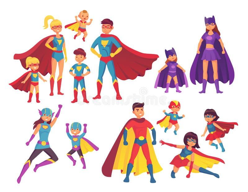 De karakters van de Superherofamilie Superheroeskarakter in kostuums met heldenkaap Wonder mamma, super papa en kinderenhelden vector illustratie