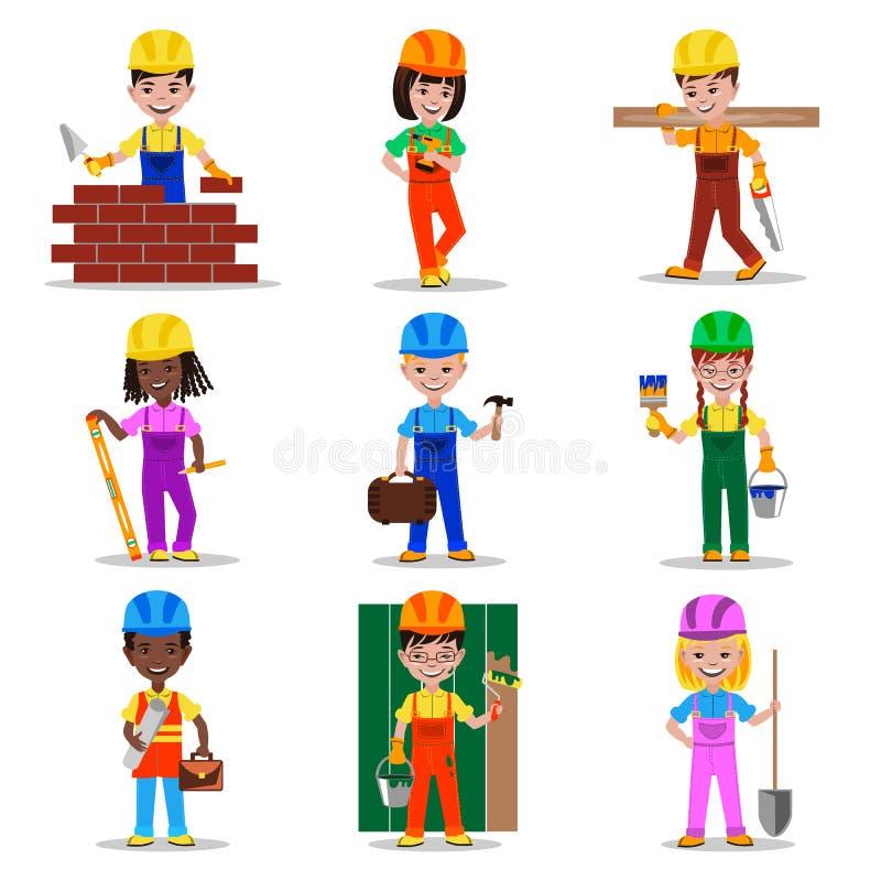 De karakters vectorillustratie van jonge geitjesbouwers vector illustratie