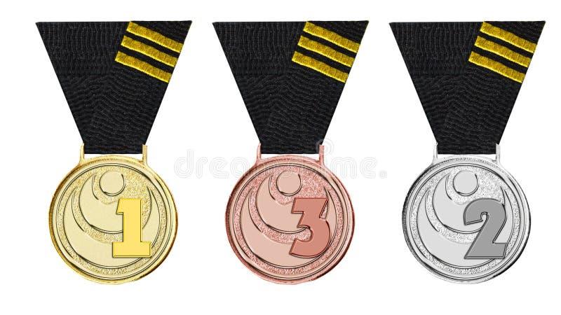 Or de karaté de récompense, argent, bronze illustration libre de droits