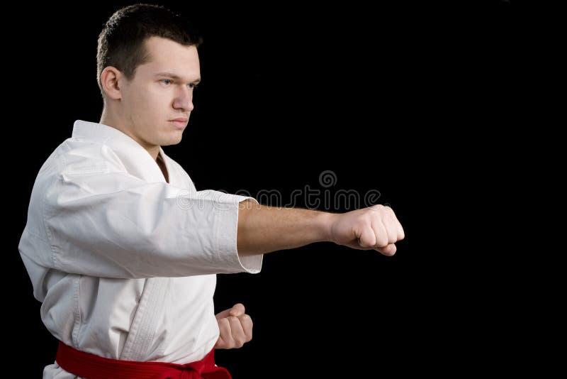 De karate jonge vechter van het contrast op zwarte stock foto's