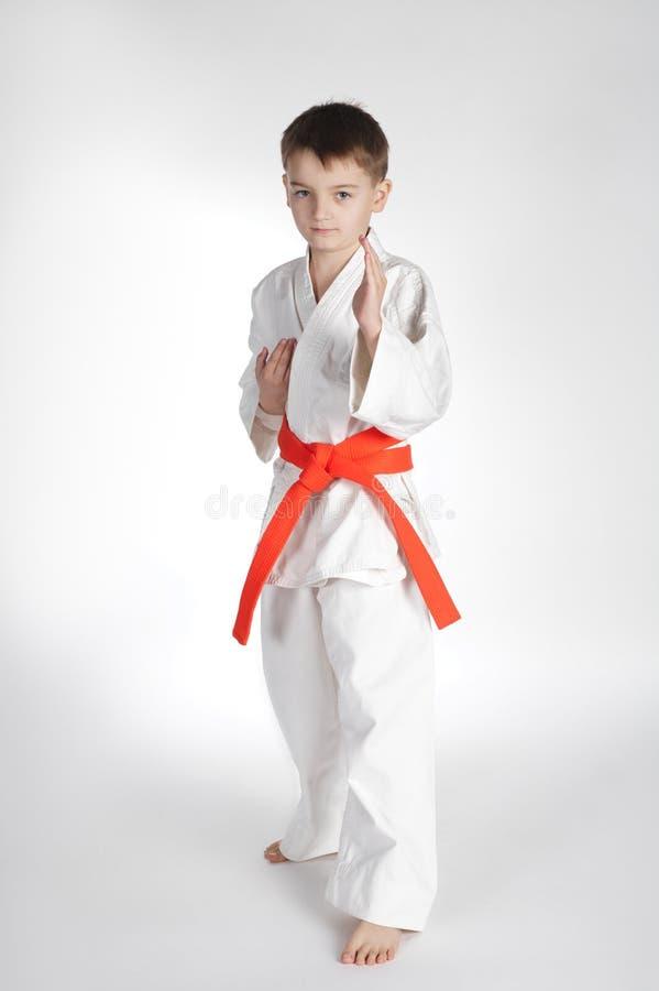 De karate van de jongenspraktijk stock afbeelding