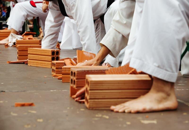 De karatestudenten tonen hun vaardigheden stock afbeelding