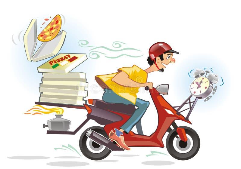 De karikatuur van de de leveringsdienst van de pizza stock illustratie