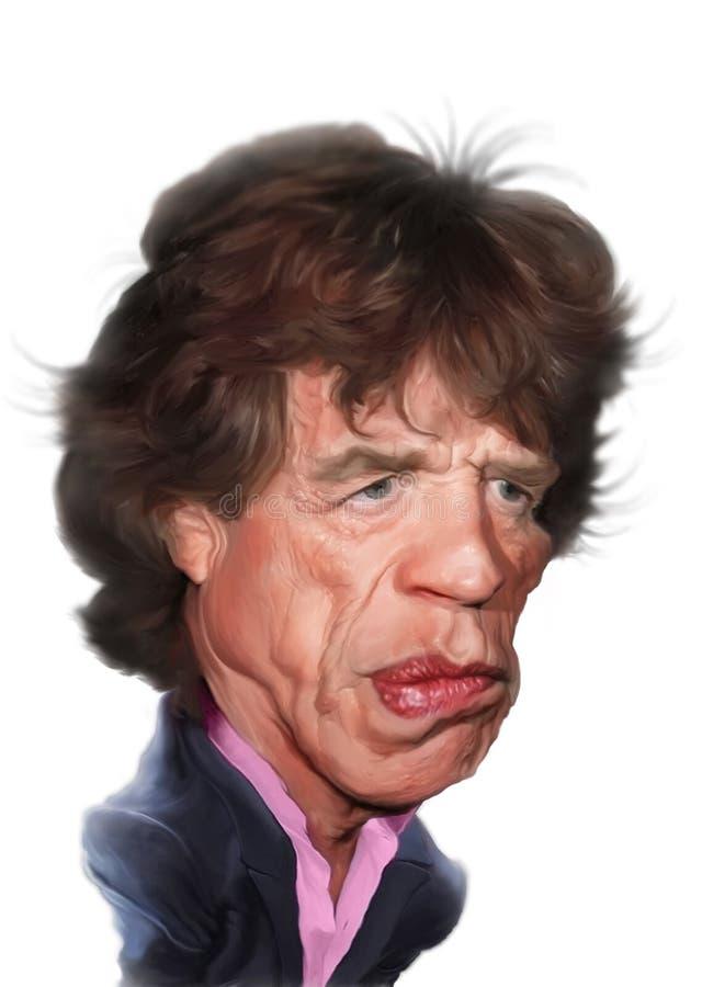 De Karikatuur van Jagger van Mick stock illustratie