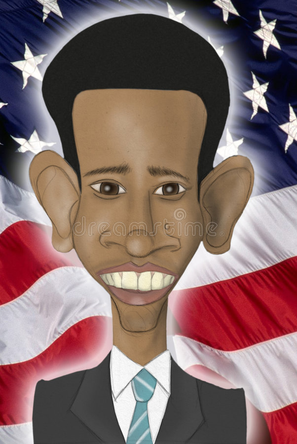 De karikatuur van Obama van Barack vector illustratie