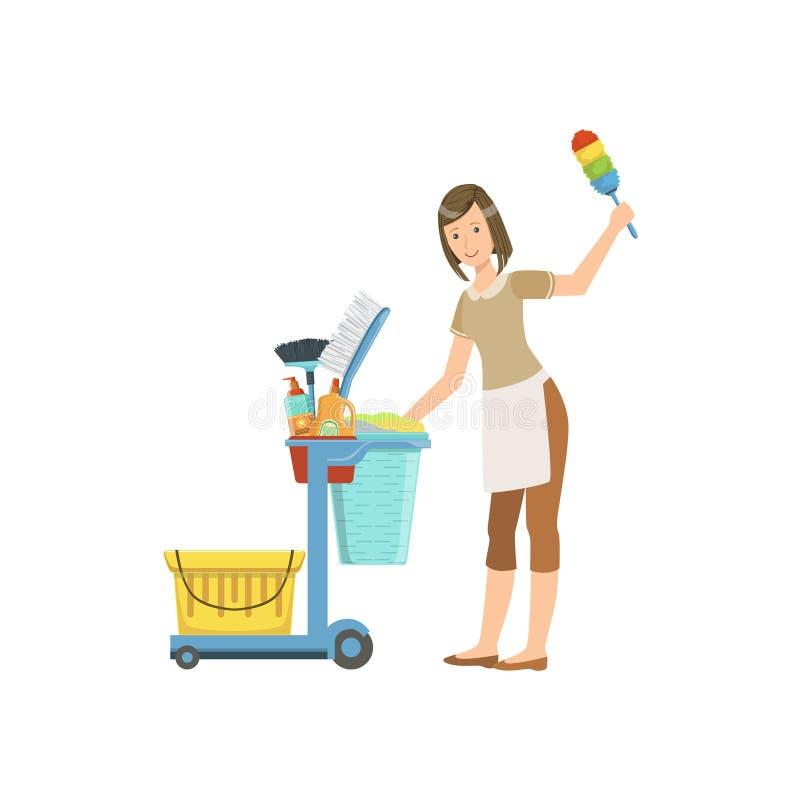 De Karillustratie van With Cleaning Equipment van het hotel Professionele Meisje stock illustratie