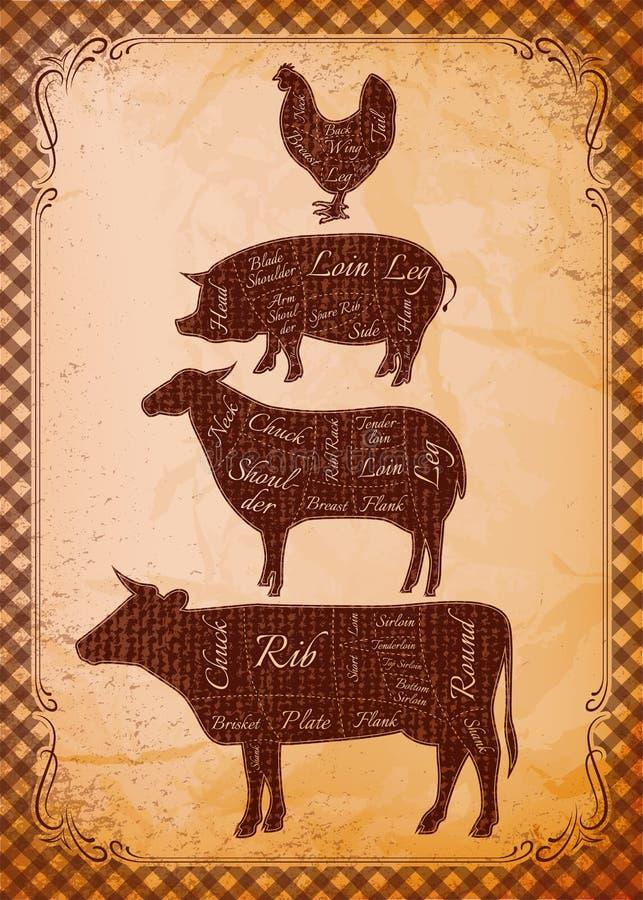 De karkassen van de diagrambesnoeiing van kip, varken, koe, lam vector illustratie