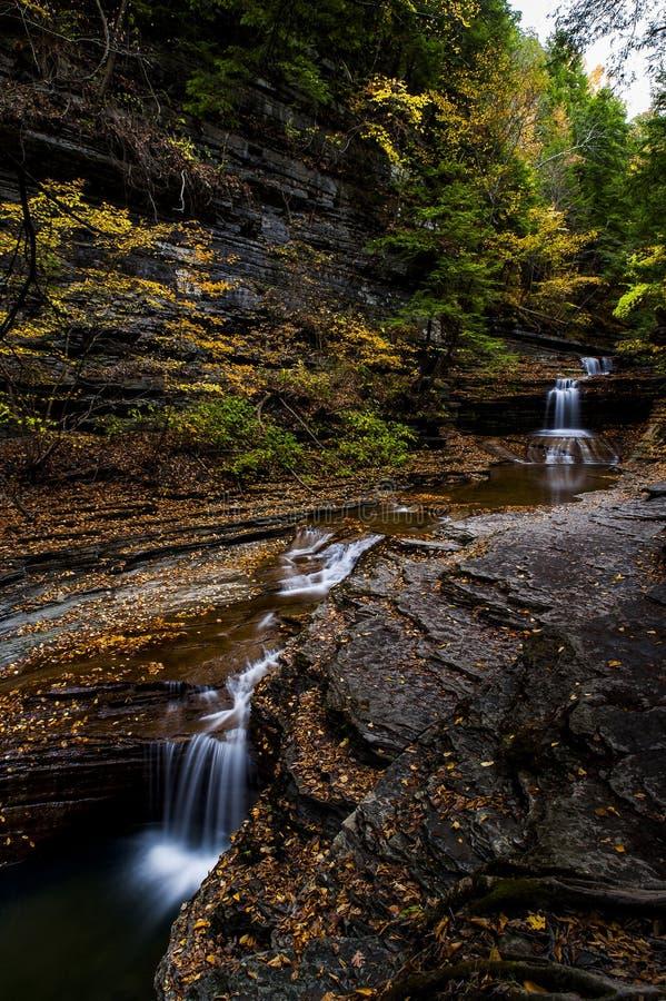 De karnemelk valt het Park van de Staat - Autumn Waterfall - Ithaca, New York royalty-vrije stock foto's