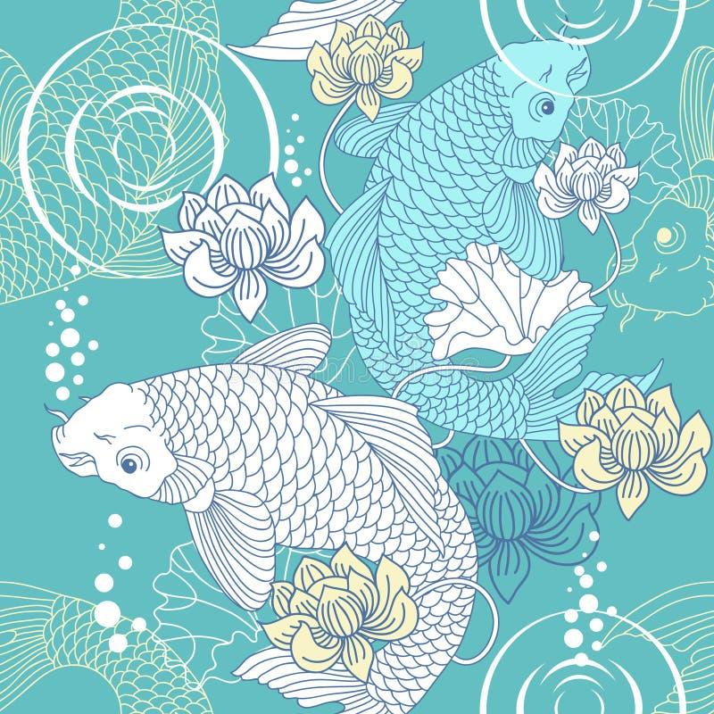 De karper naadloos patroon van Koi vector illustratie