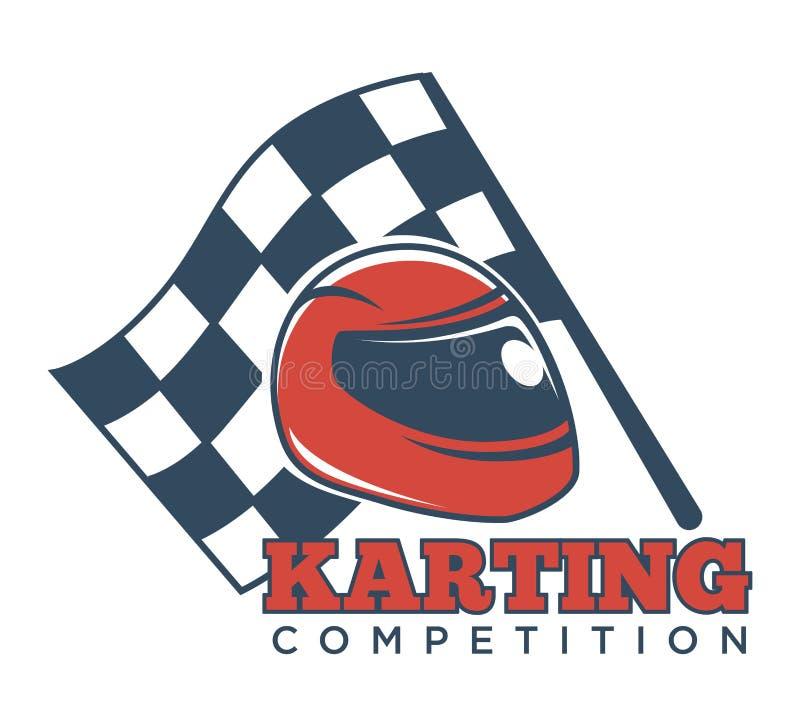 De Kartingsconcurrentie logotype met helm voor rassen en vlag stock illustratie